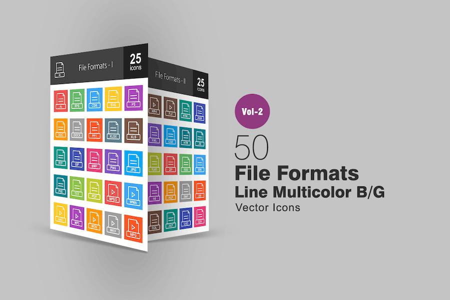 50 File Formats Line Multicolor Icons
