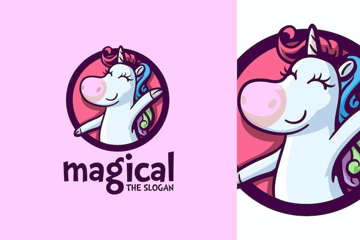 Thumbnail for Cartoon Magical Unicorn Character Mascot Logo