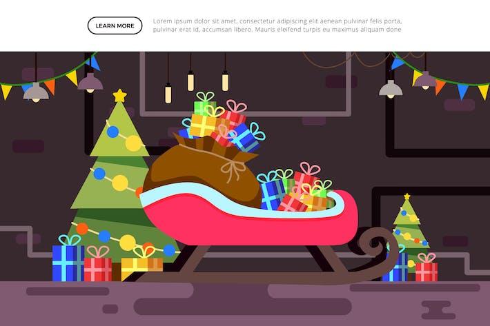 Santa Garage - Weihnachts-Illustration