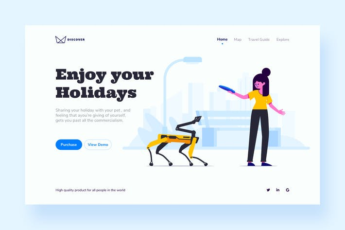Thumbnail for Robot Pet Landing Page Template
