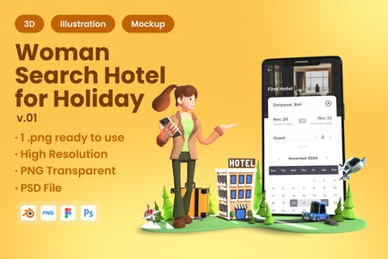 3D Woman Searching Hotel for Holiday