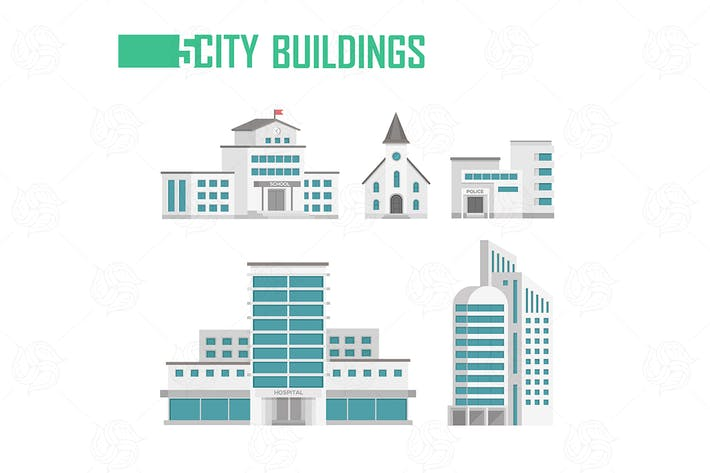 Thumbnail for Five city buildings - set of flat design objects