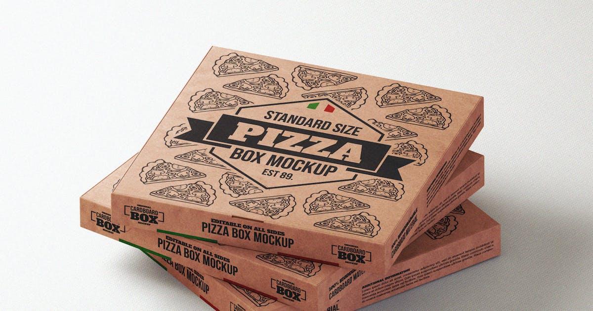 Download Pizza takeaway box mock-up template by EightonesixStudios
