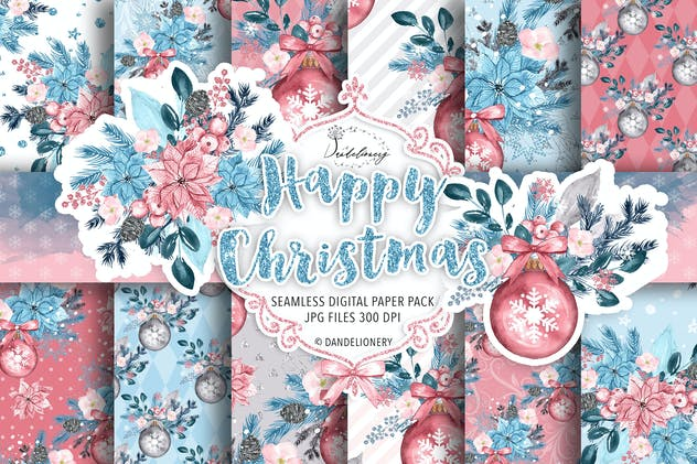 Happy Christmas digital paper pack