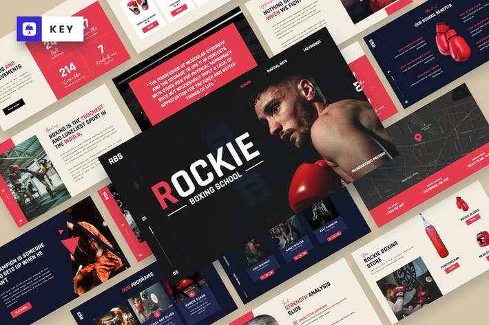 Thumbnail for ROCKIE - Boxing & Martial Art Keynote Template