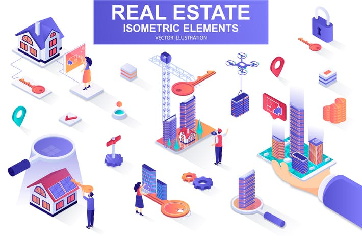Thumbnail for Real Estate Isometric Design Elements