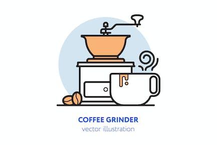 Illustration Vecteur du moulin à café