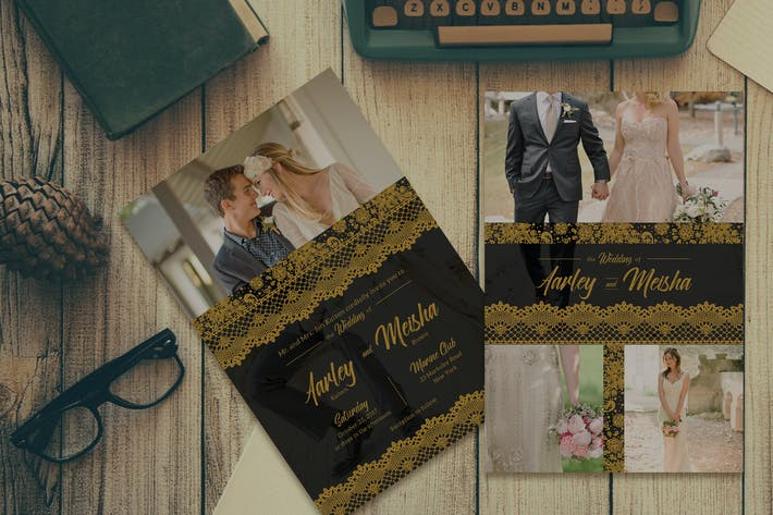 Cover Image For Lace Gold Wedding Invitation
