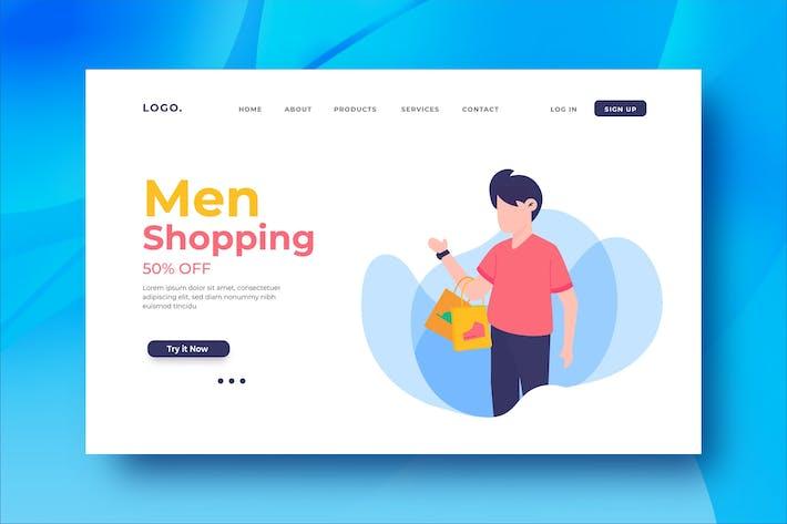 Thumbnail for Men Shopping Landing Page Illustration