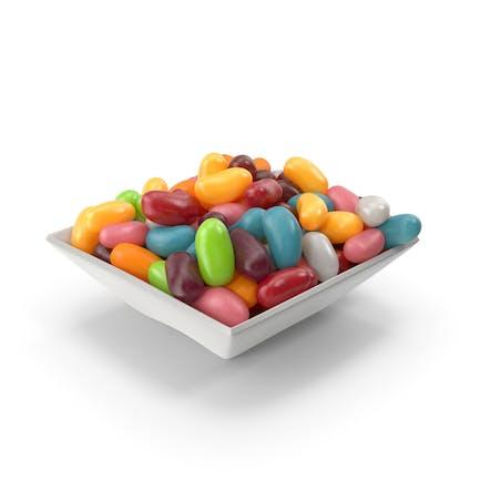 Quadratische Schüssel mit Jelly Beans