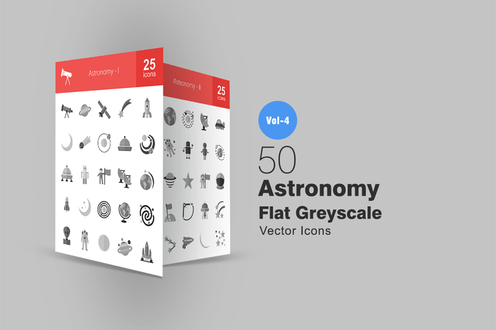 Thumbnail for 50 Astronomy Greyscale Icons