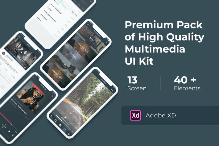 Thumbnail for Multimedia and Entertaintment UI KIT for XD