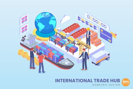Isometric International Trade Hub Vector Concept