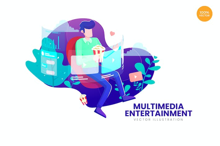 Thumbnail for Multimedia Entertainment Vector Illustration Conce