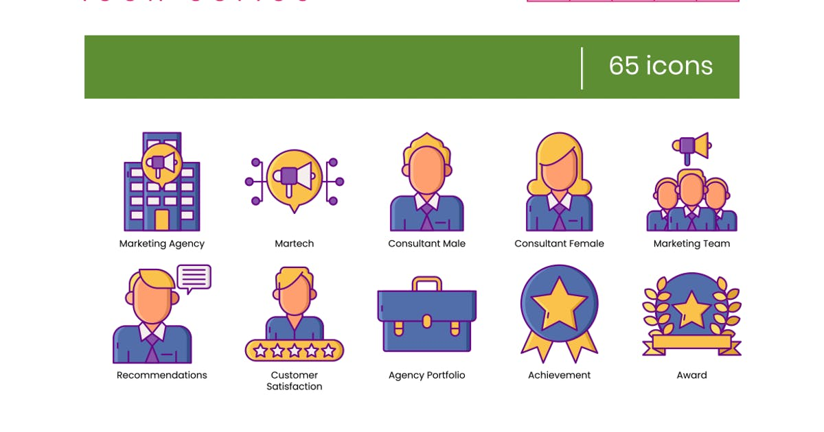 Download 65 Marketing Agency Icons - Wildberry Series by Krafted