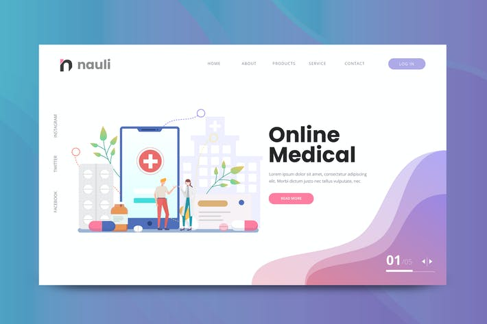 Thumbnail for Online Medical Web PSD and AI Vector Template