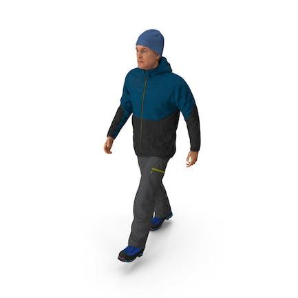 Winter Men Sportswear Walking Pose