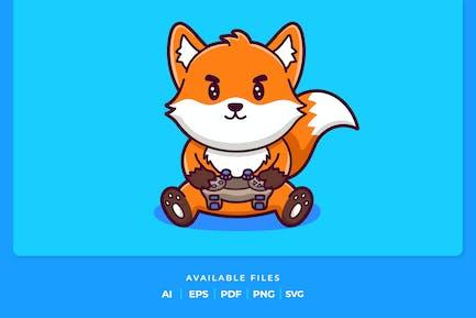 Cute Fox Playing Game