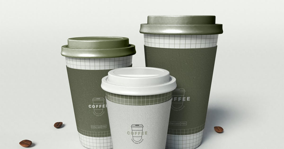 Download Three Coffee Cup Mockup by megostudio