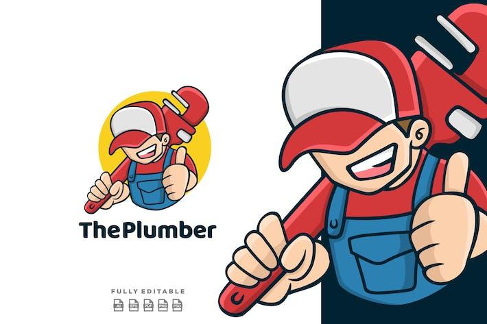 Thumbnail for Cartoon Plumber Man Mascot Logo
