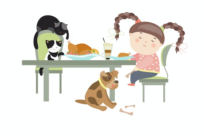 Thumbnail for Dinner with pets, girl feedind the puppy