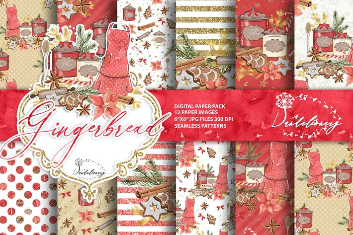 Thumbnail for Christmas Gingerbread digital paper pack