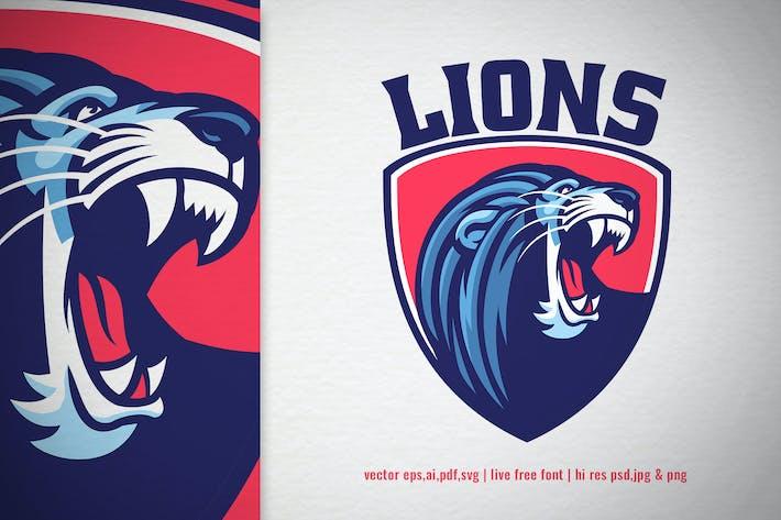 lion mascot head shield logo
