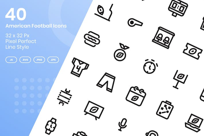 Thumbnail for 40 American Football Icons Set - Linie