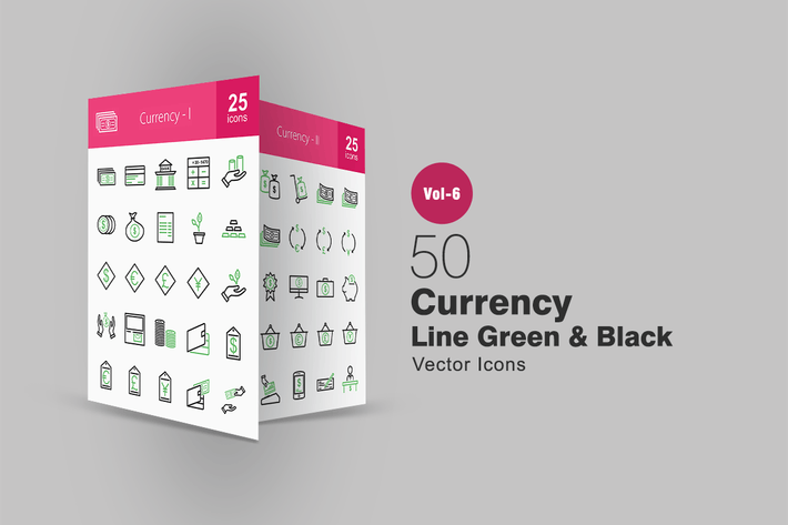 Thumbnail for 50 Currency Green & Black Line Icons