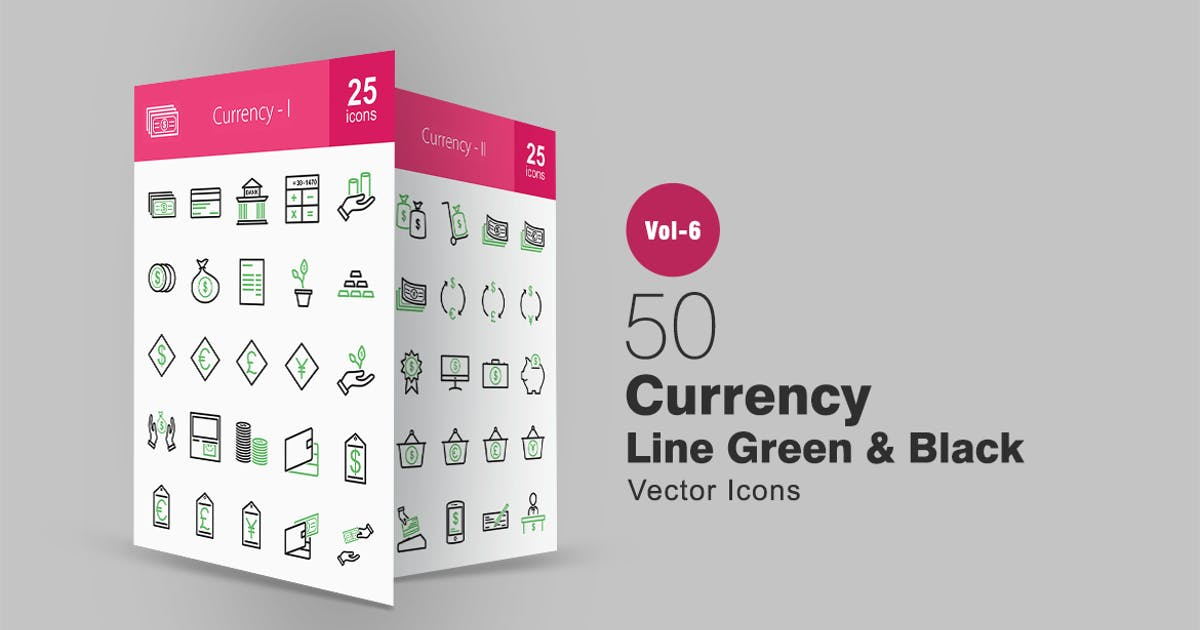 Download 50 Currency Green & Black Line Icons by IconBunny