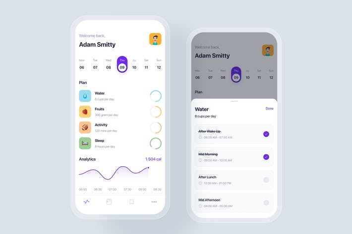Calendar mobile app UI concept