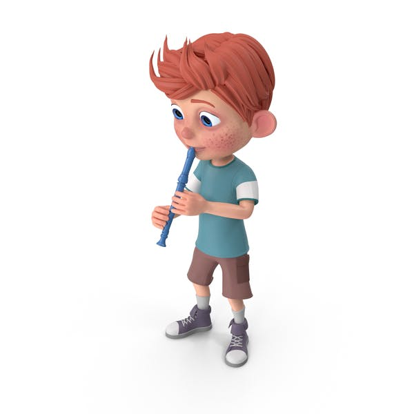 Thumbnail for Cartoon Boy Charlie Playing Recorder