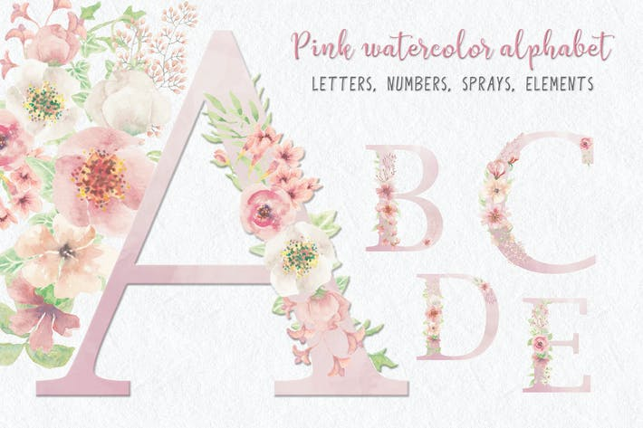 Thumbnail for Pink Watercolor Floral Letters and Numbers