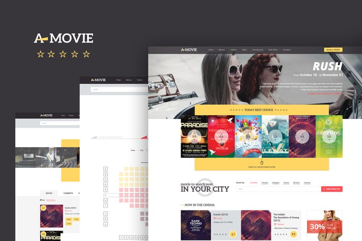 Thumbnail for A.Movie — Cinema/Movie HTML LESS Template