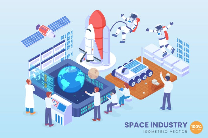 Thumbnail for Isometric Space Industry Vector Concept