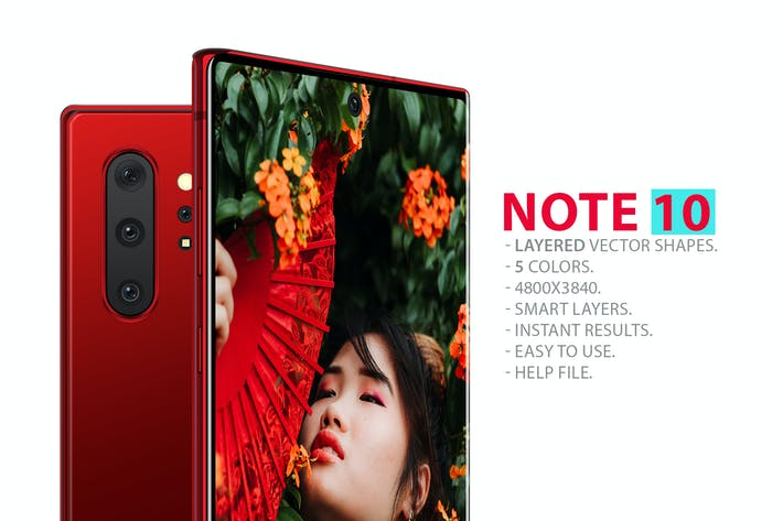Thumbnail for Note 10 Front and Back Layered PSD MockUps