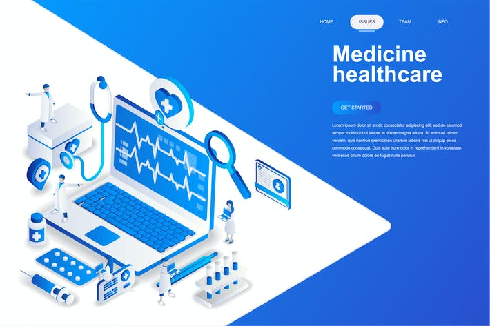 Cover Image For Medicine and Healthcare Isometric Concept