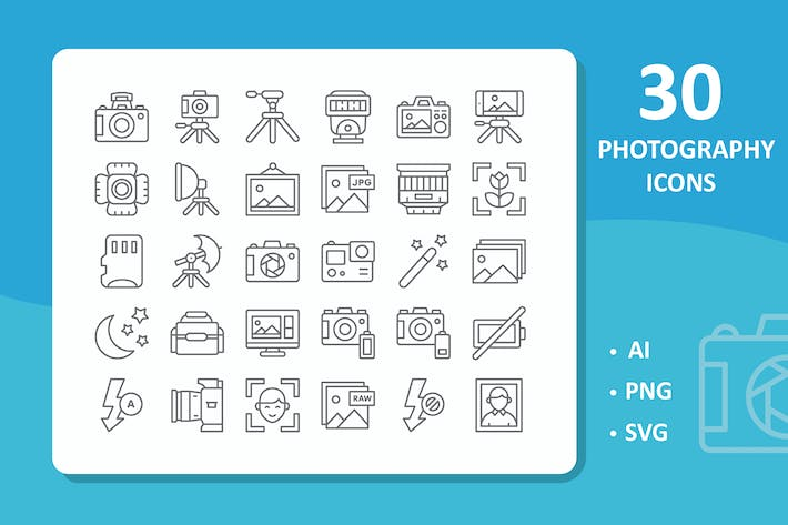 Thumbnail for 30 Photography Icons ( Line )