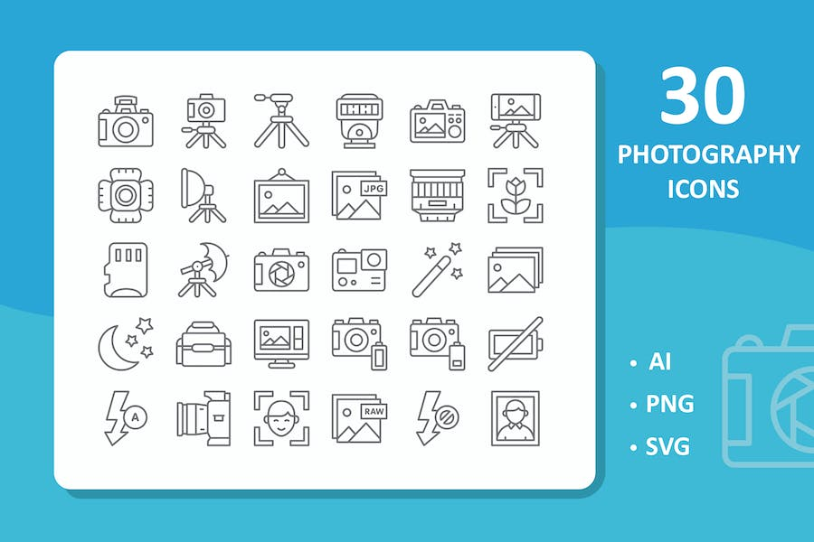 30 Photography Icons ( Line )