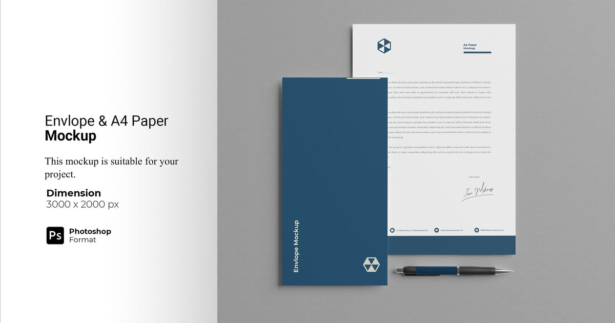 Download Top View Envelope and A4 Paper Mockup by IanMikraz