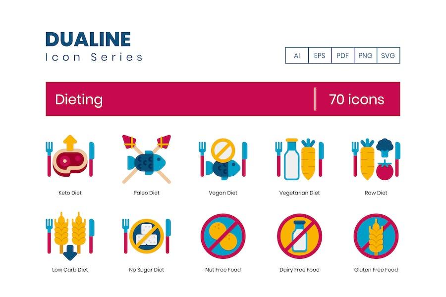 70 Dieting Icons - Dualine Flat Series