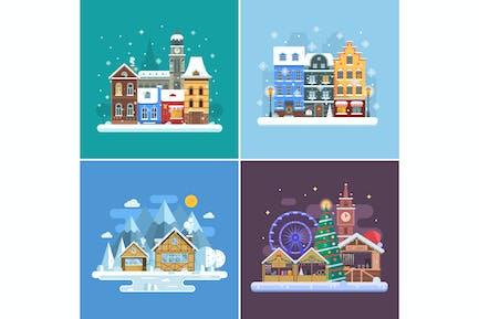 Escenas de las ciudades de nieve