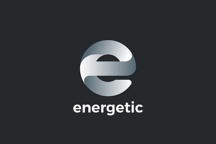 Letter E Logo design geometric style