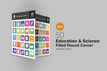 50 Education & Science Flat Round Corner Icons