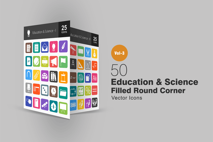 Thumbnail for 50 Education & Science Flat Round Corner Icons