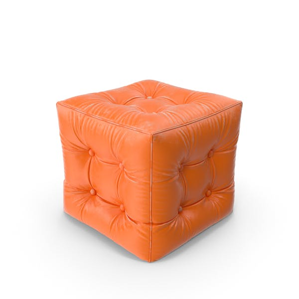Thumbnail for Orange Pouf Worn Leather