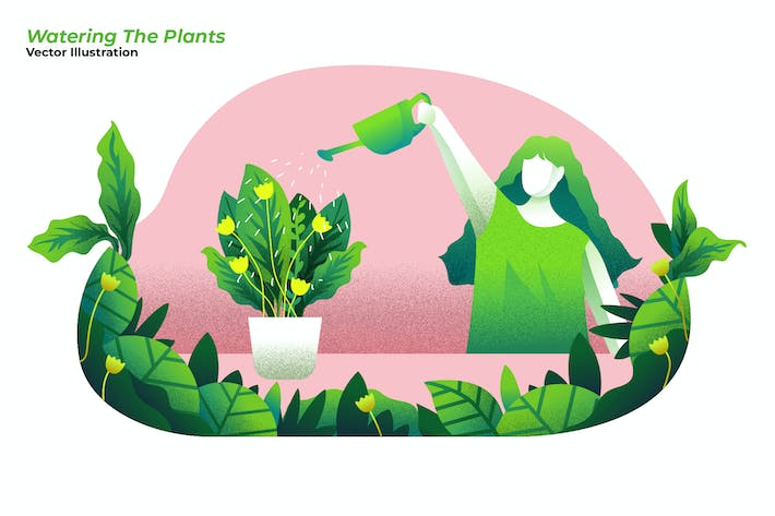 Thumbnail for Watering Plants - Vector Illustration
