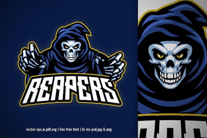 Thumbnail for skull grim reaper for sport and e-sport logo