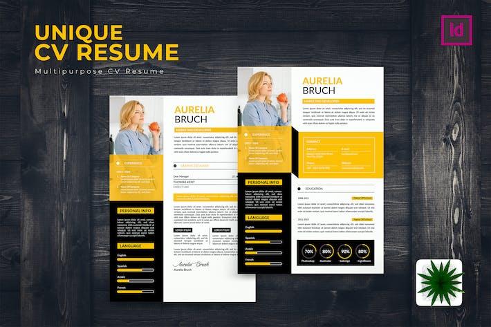 Thumbnail for Unique CV Resume Template
