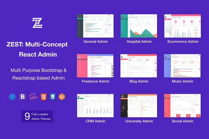Thumbnail for Zest: Multi-Concept React Admin Template